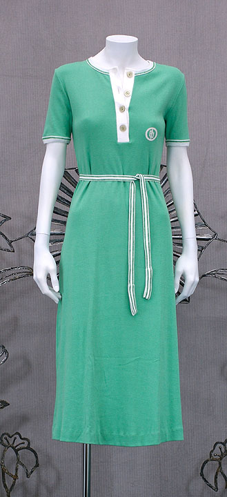Emilio Pucci Cotton Jersey Mint Green Logo Dress