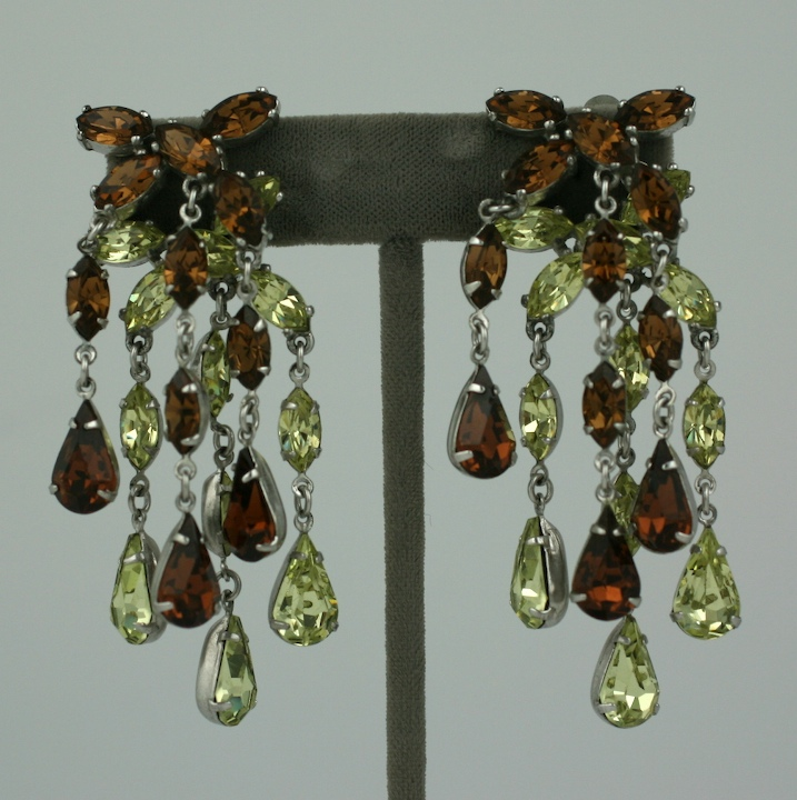Schiaparelli Topaz and Citrine Chandelier Earclips