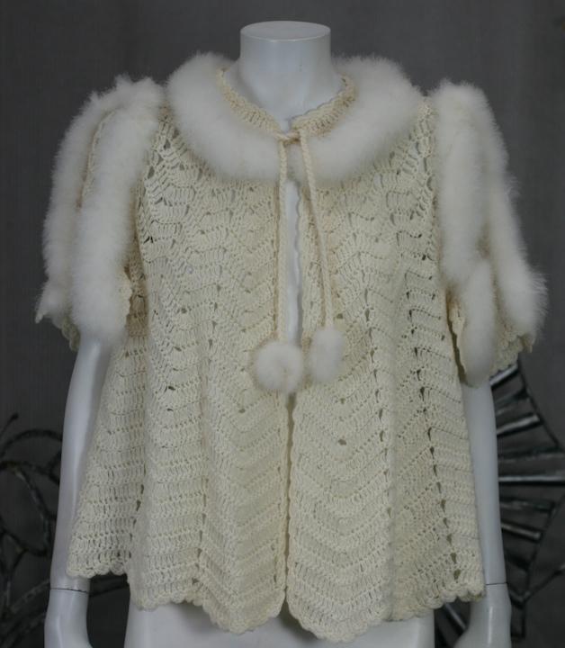Deco Crochet Bedjacket with Eiderdown trim