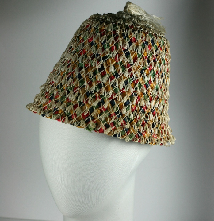 Multicolored Straw Tassel Beach Hat